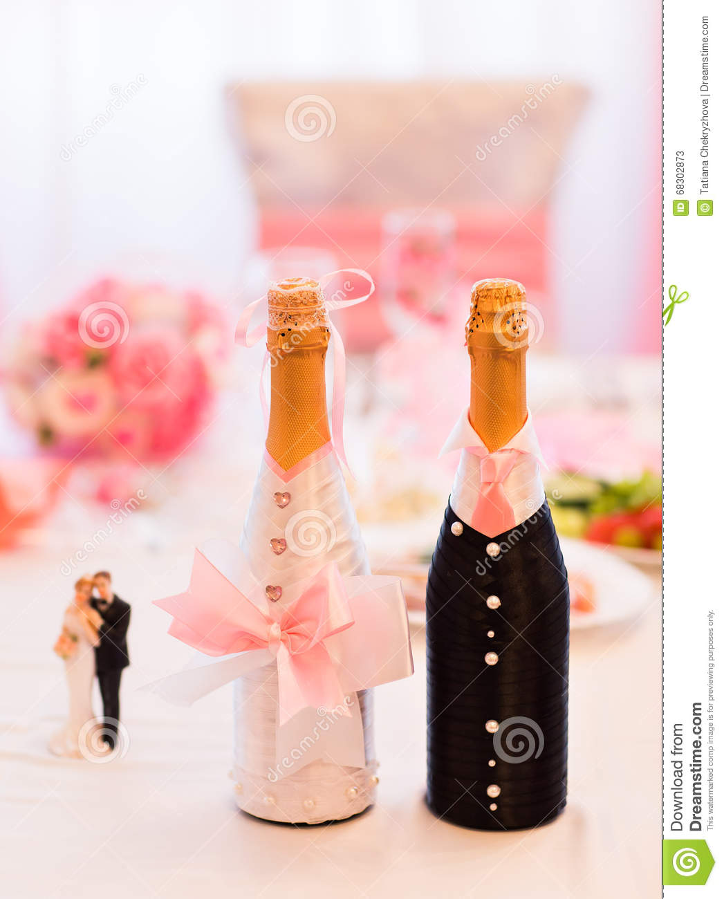 Champagne Bottles Decoration For Wedding Day Stock Image - Image of ...