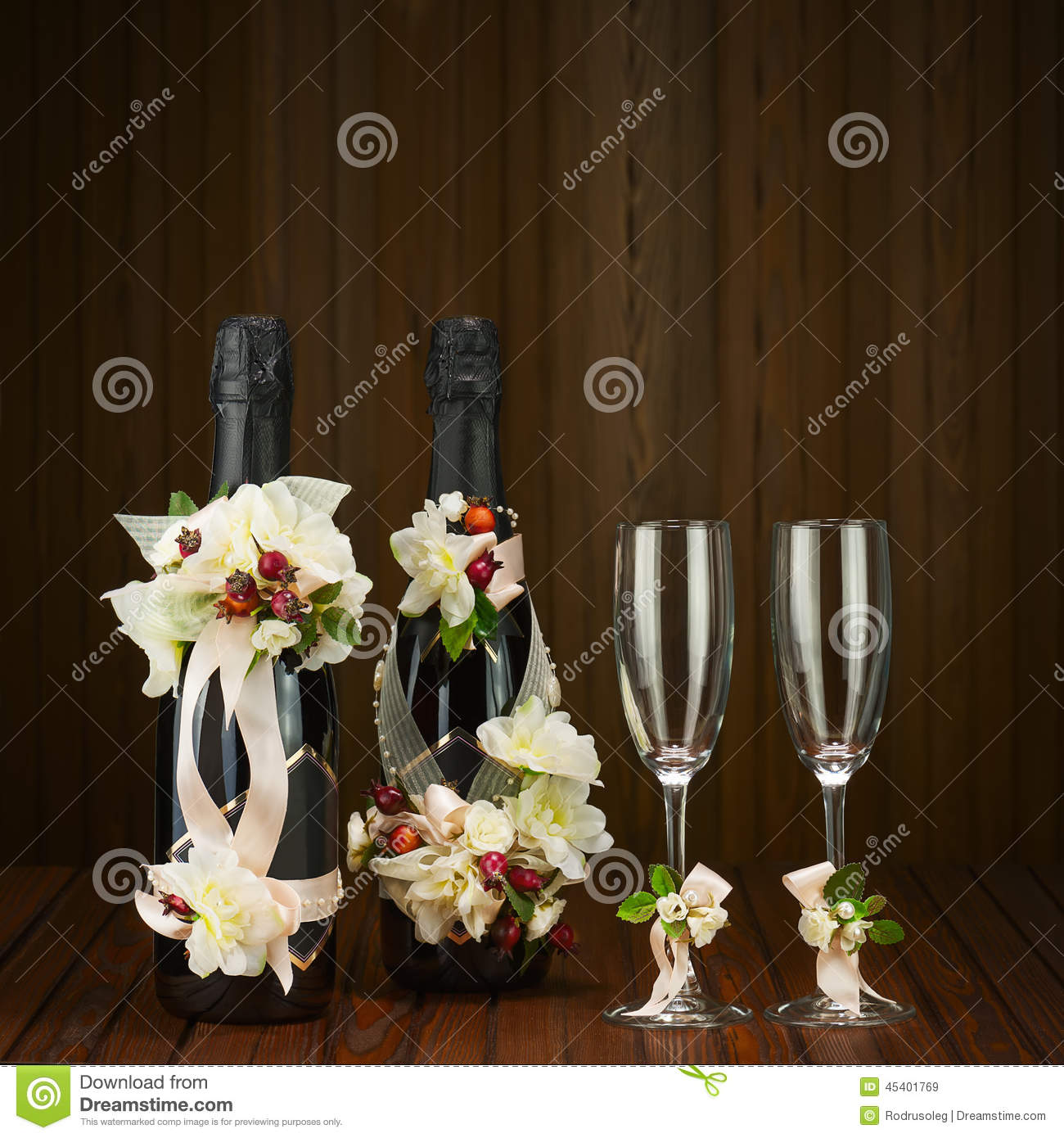 Champagne bottles with glass and wedding decoration of flower ar stock photo image 45401769 for Photo decoration