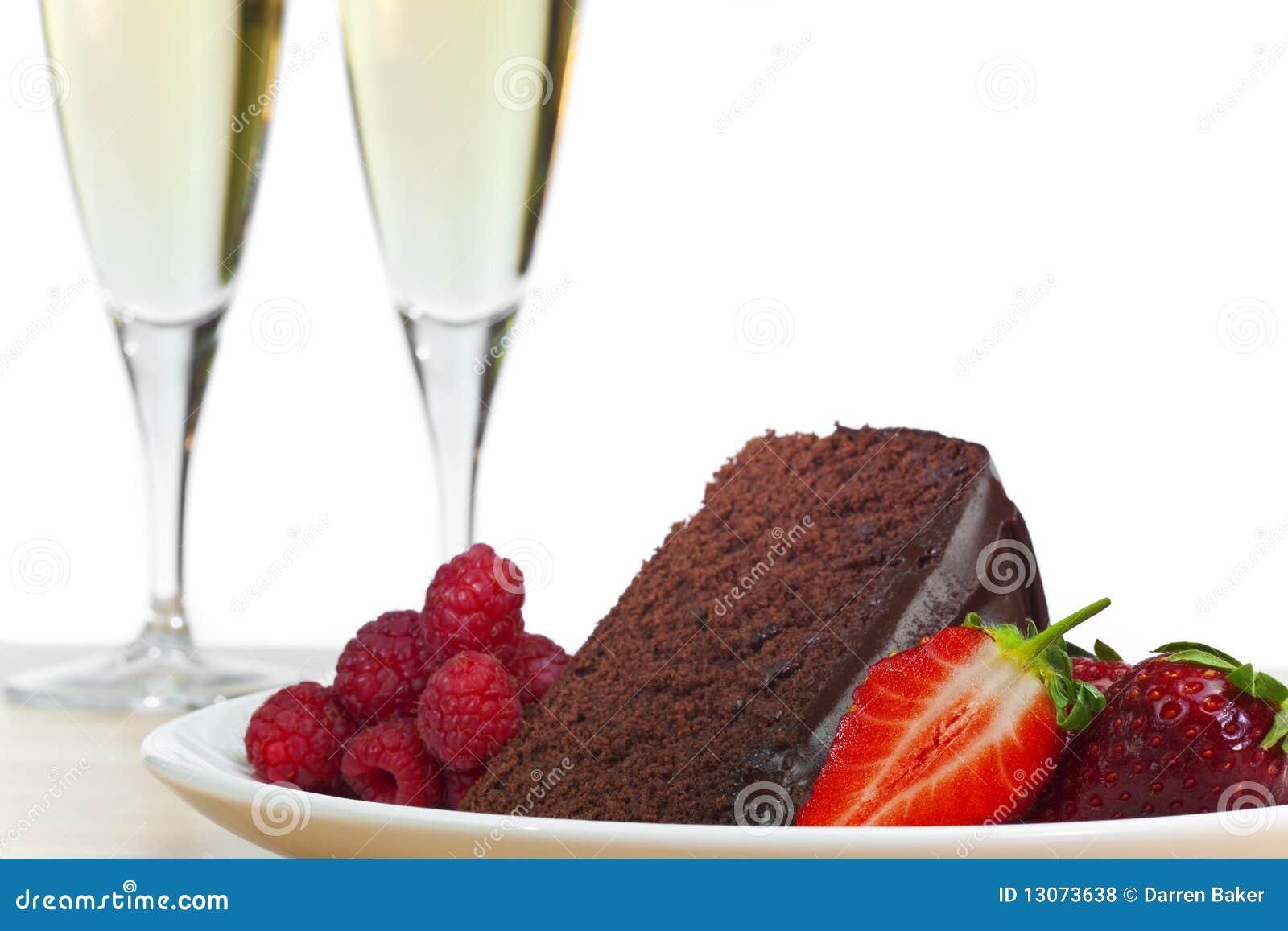 Champagne, Chocolate Cake Raspberries Strawberries
