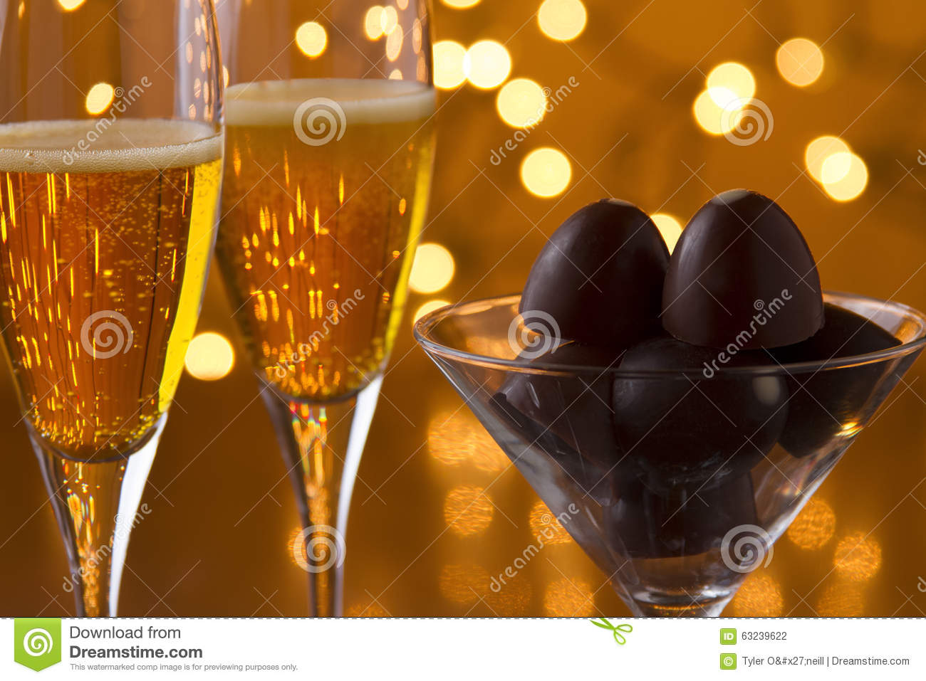 Champagne And Chocolate Stock Photo Image 63239622