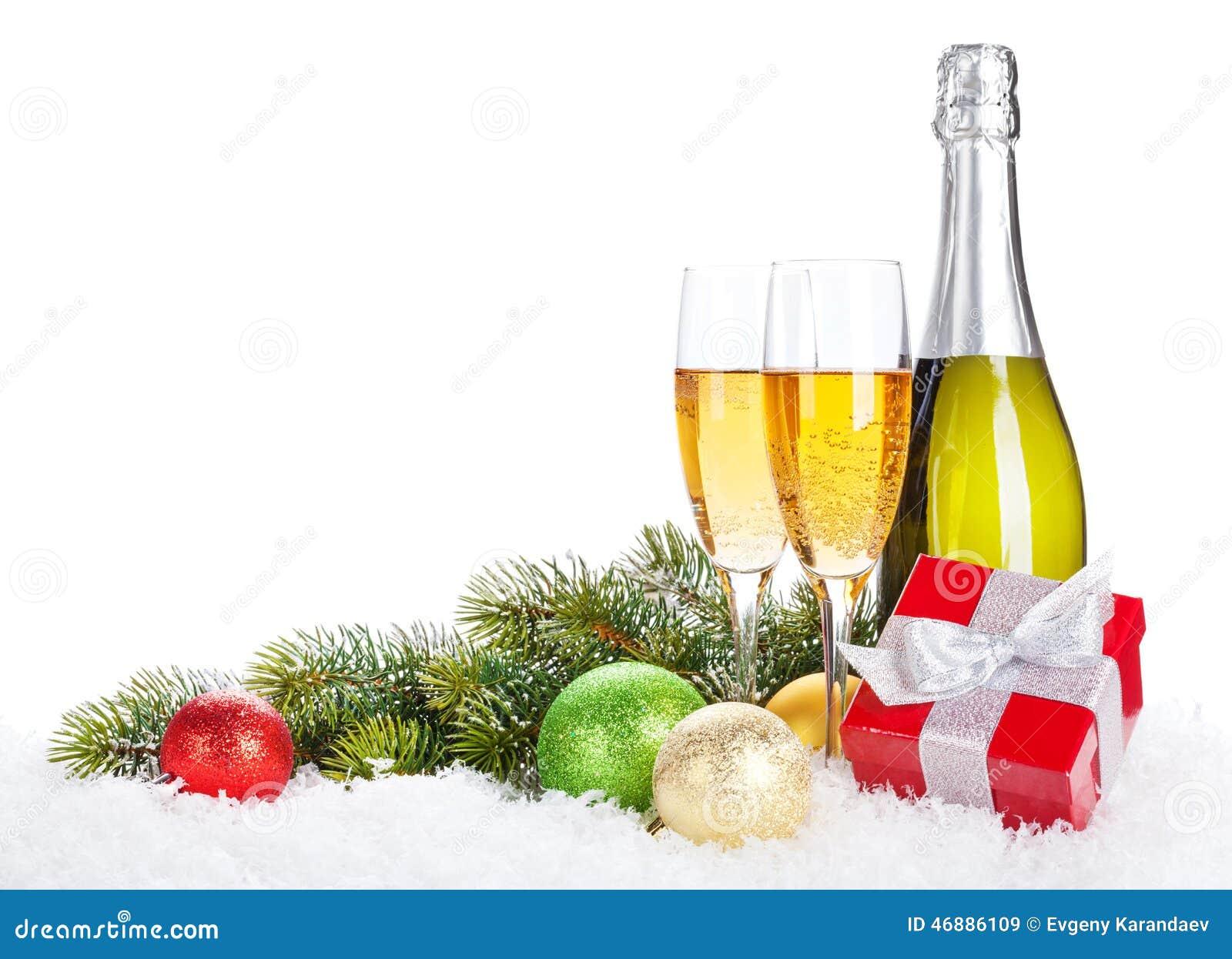Boîte De Cadeau Le Jour De Noël Clip Art: Champagne, Décor De Noël Et Boîte-cadeau Photo Stock