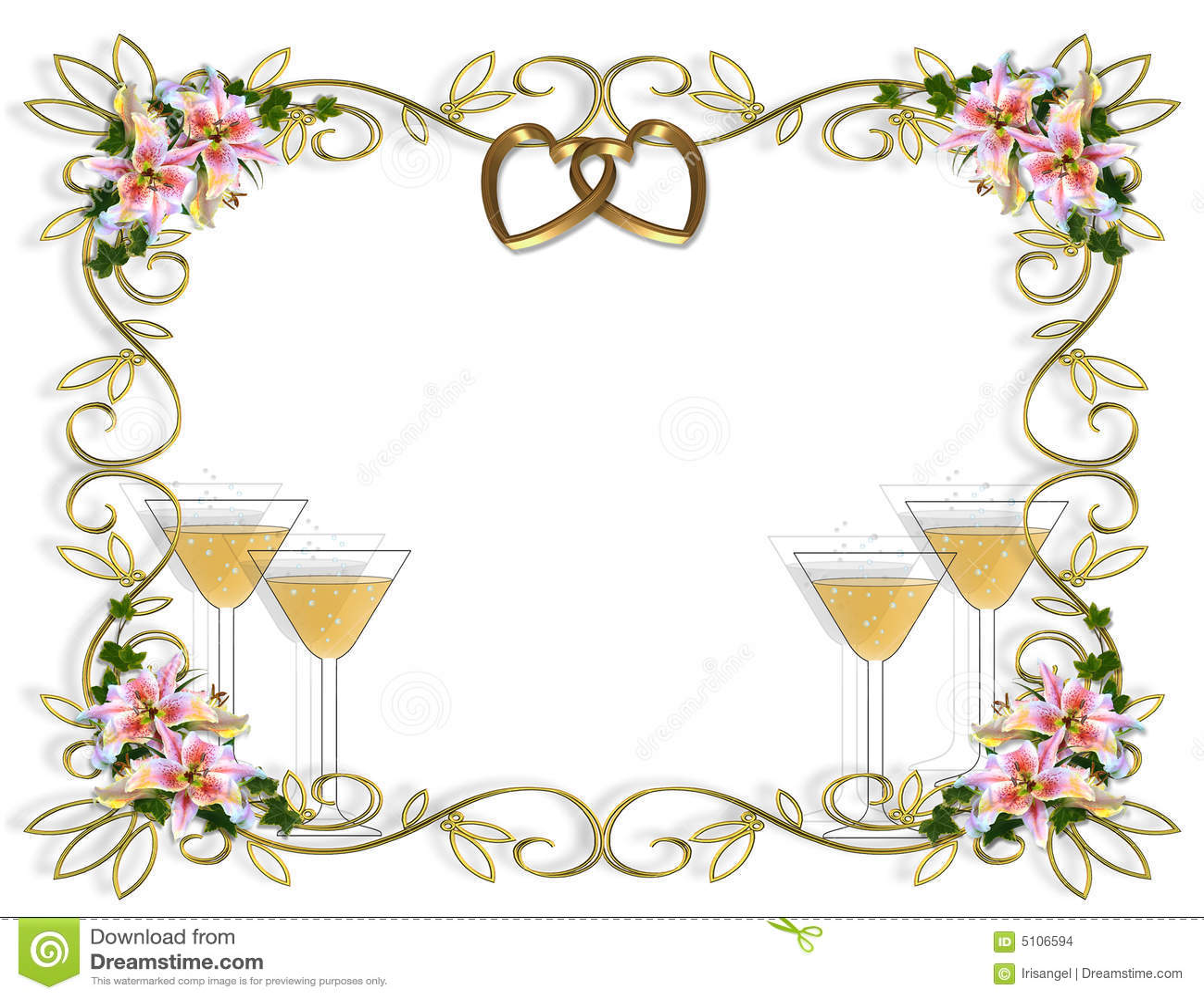 Champagne en uitnodiging van het huwelijk de lelie