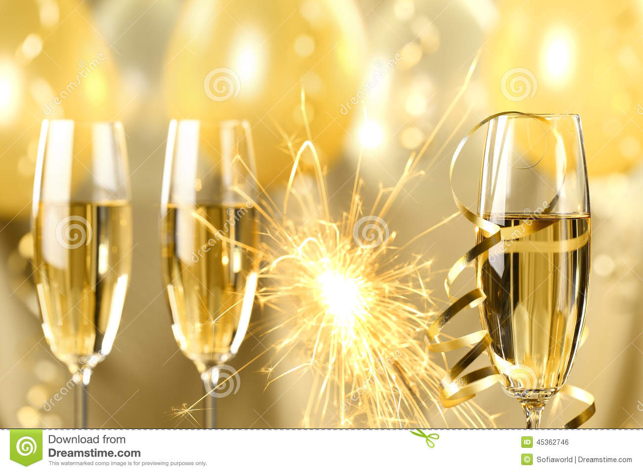 Champagne And Fireworks Stock Photo Image 45362746