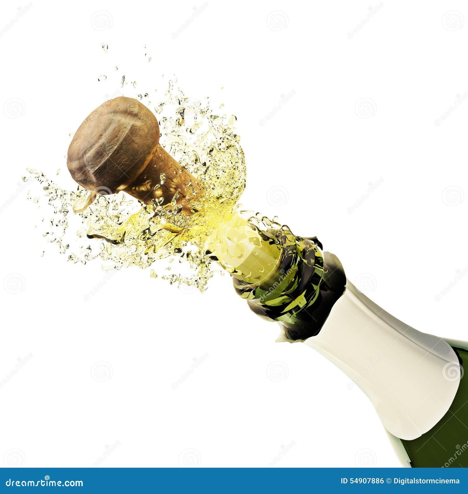 champagne fles het knallen stock illustratie illustratie bestaande uit groen 54907886. Black Bedroom Furniture Sets. Home Design Ideas