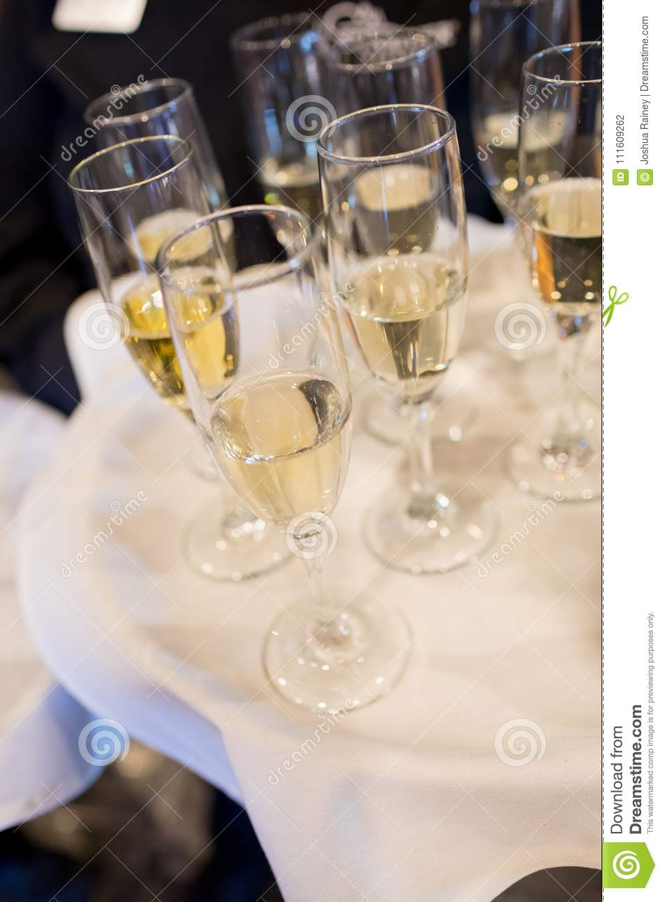 Champagne Flutes For Toast At Wedding Stock Photo Image Of Server