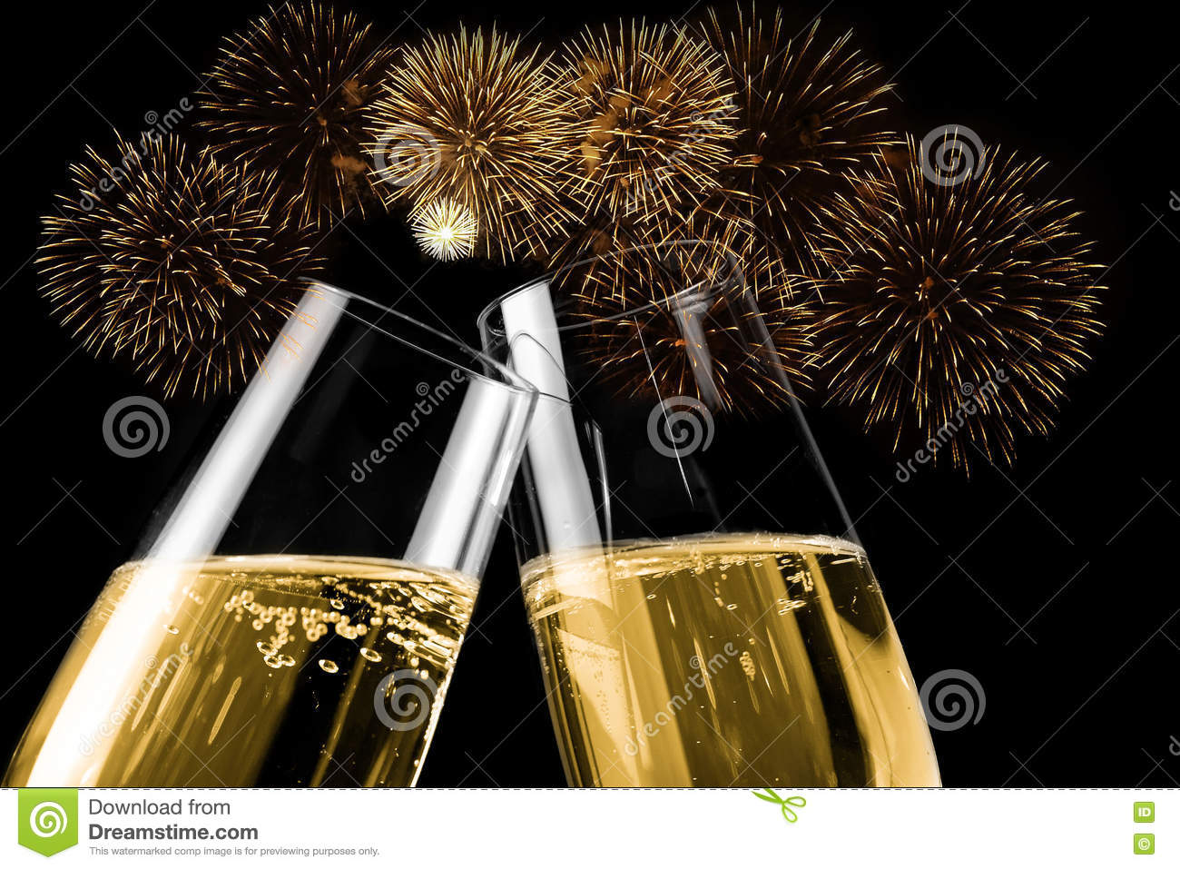 champagne flutes with golden bubbles make cheers with fireworks sparkle and black background happy new