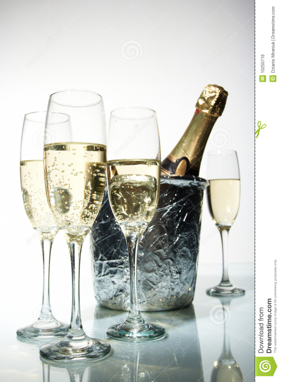 champagne flutes and ice bucket royalty free stock image. Black Bedroom Furniture Sets. Home Design Ideas