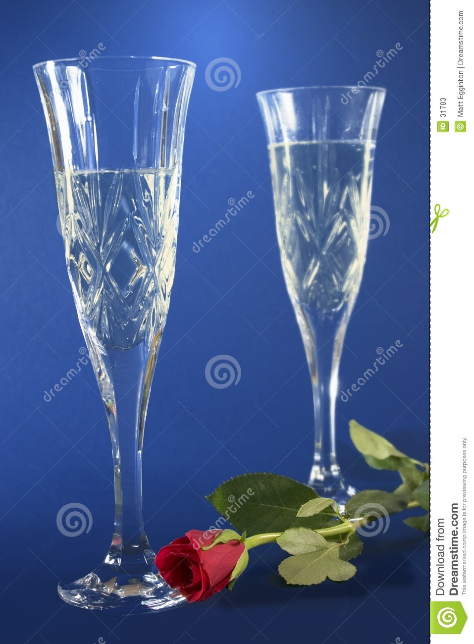Champagne flutes and rose