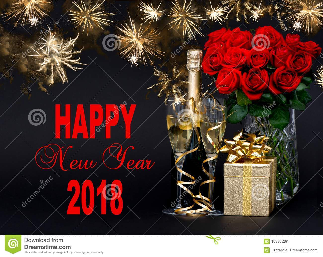Champagne Gift Flowers Golden Fireworks Happy New Year 2018 Stock