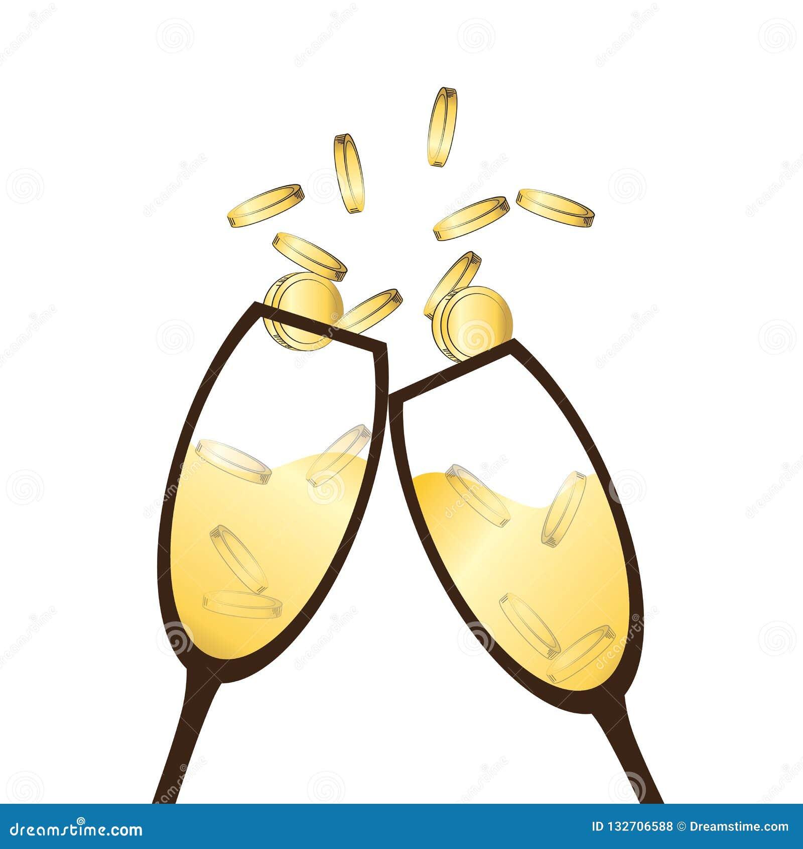 Champagne-Gläser, die für Geschäftsgespräch klirren