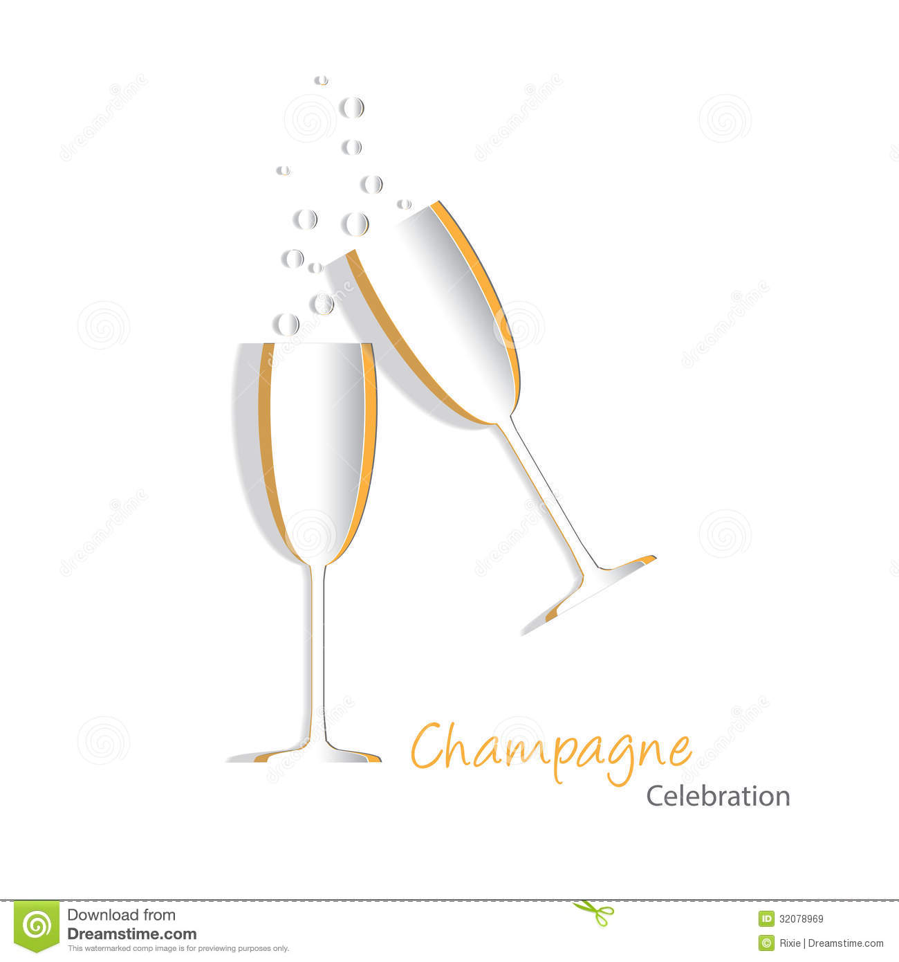 Paper cutouts of champagne glasses with bubbles also available in