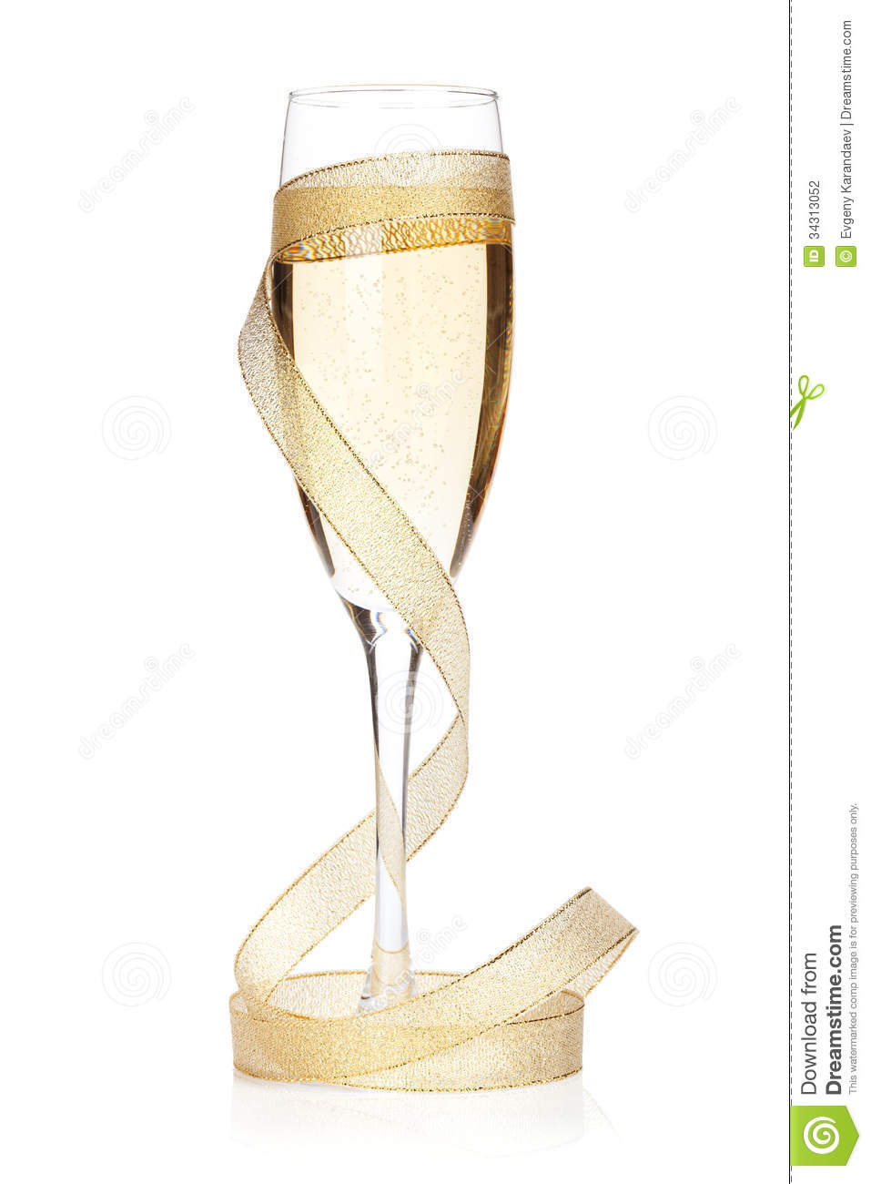 champagne glass with golden ribbon stock photography image 34313052. Black Bedroom Furniture Sets. Home Design Ideas