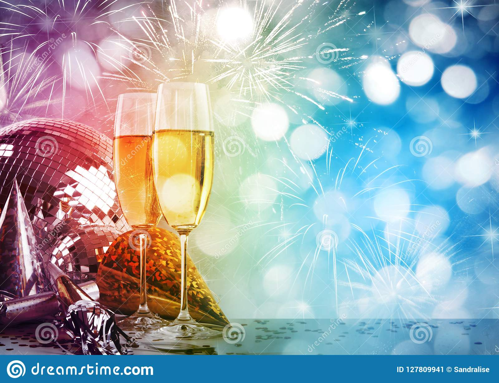 Champagne glasses against New Years background