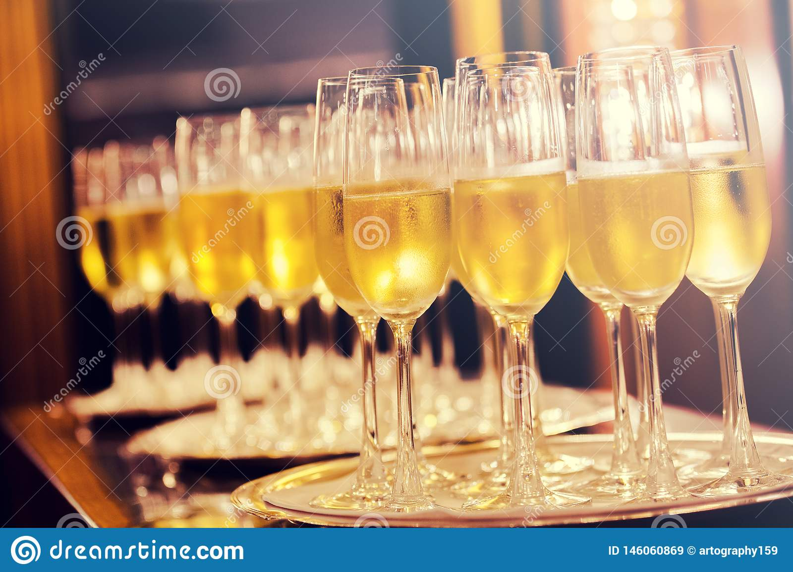 Champagne glasses background. Party concept.
