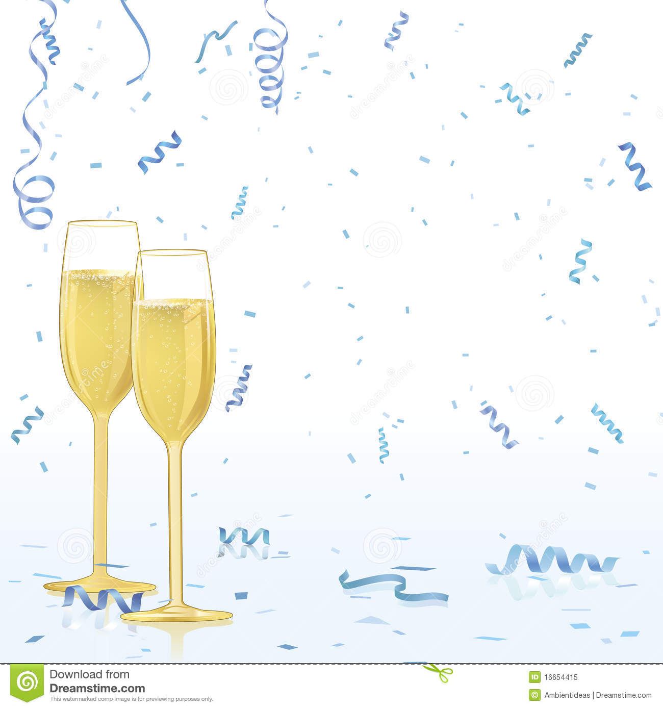 Champagne Glasses On Confetti Background Royalty Free Stock Photo