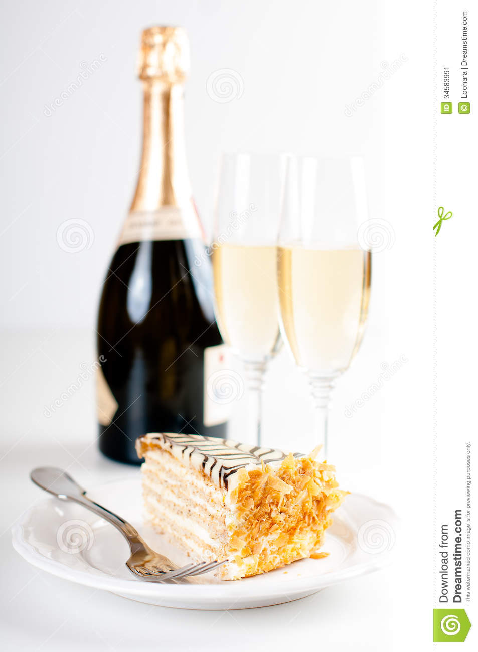 Champagne In Glasses And A Dessert Stock Image Image Of