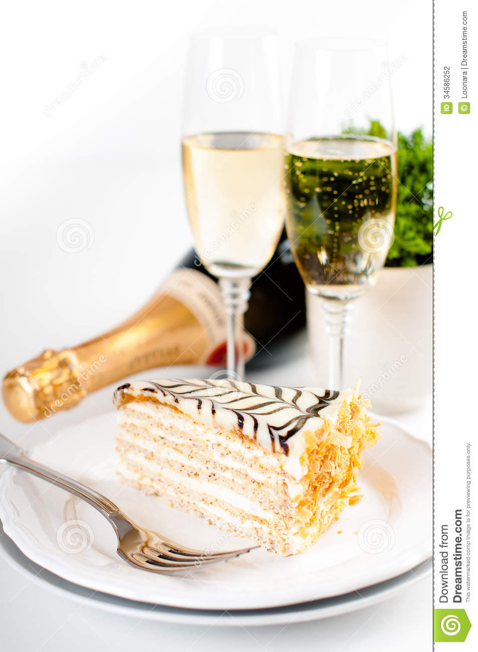 Champagne In Glasses And A Dessert Stock Photo Image