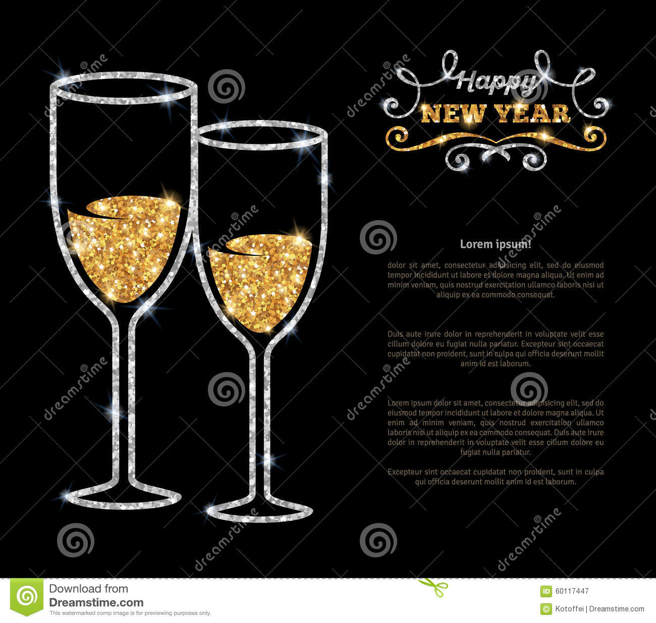 Champagne Glasses Glowing Holiday Background Stock Vector