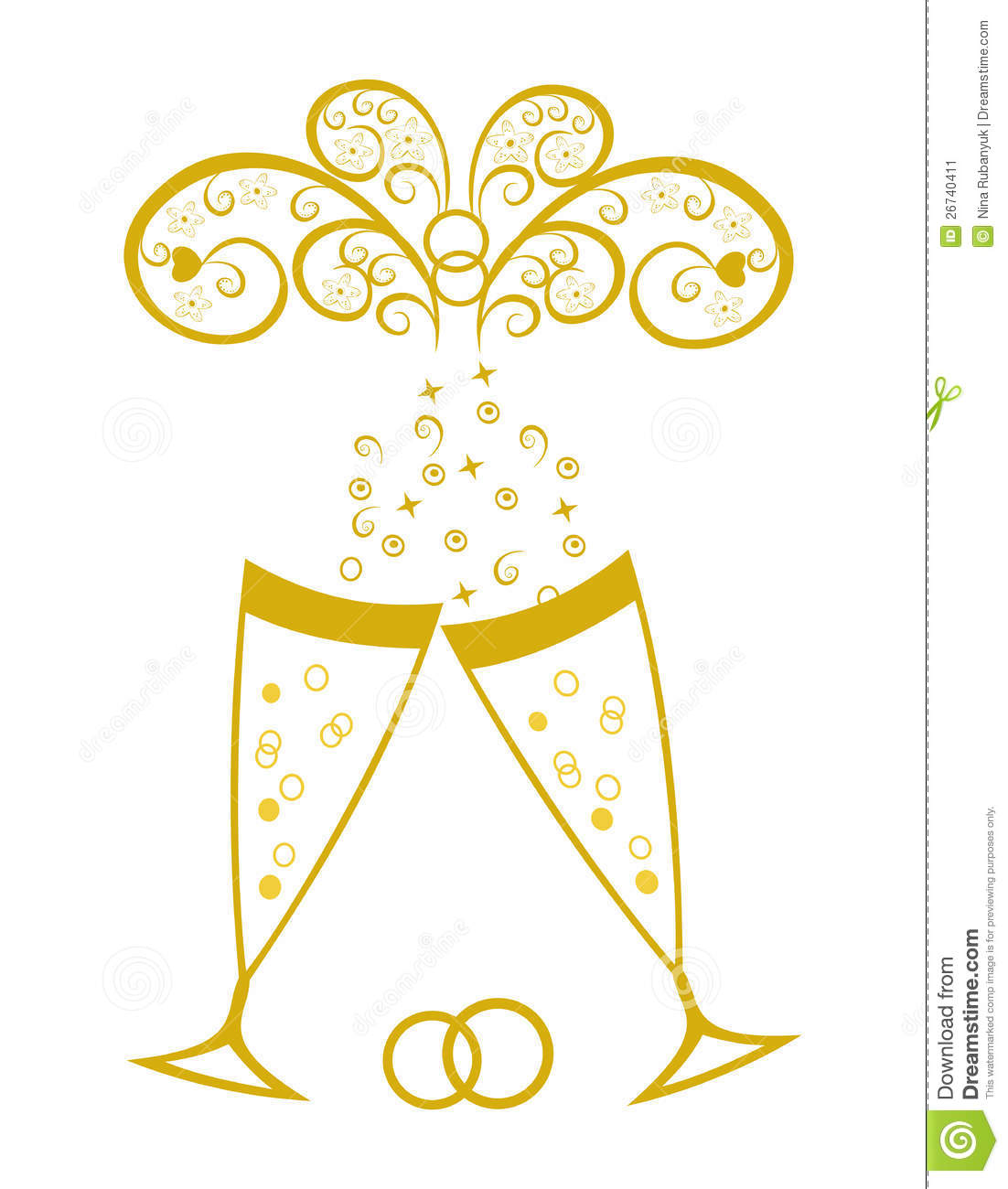 Champagne Glasses.Golden Wedding Celebration Stock Vector - Illustration of celebration ...