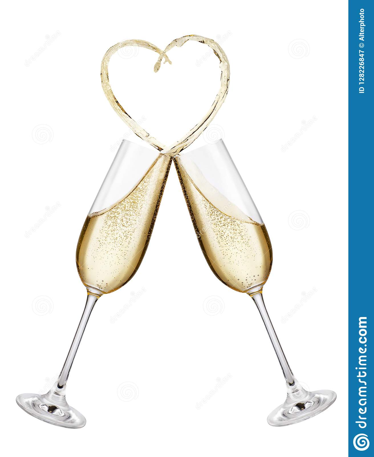 1bc0a96200c8 Glasses of champagne making toast with splash in the shape of heart  isolated on white background