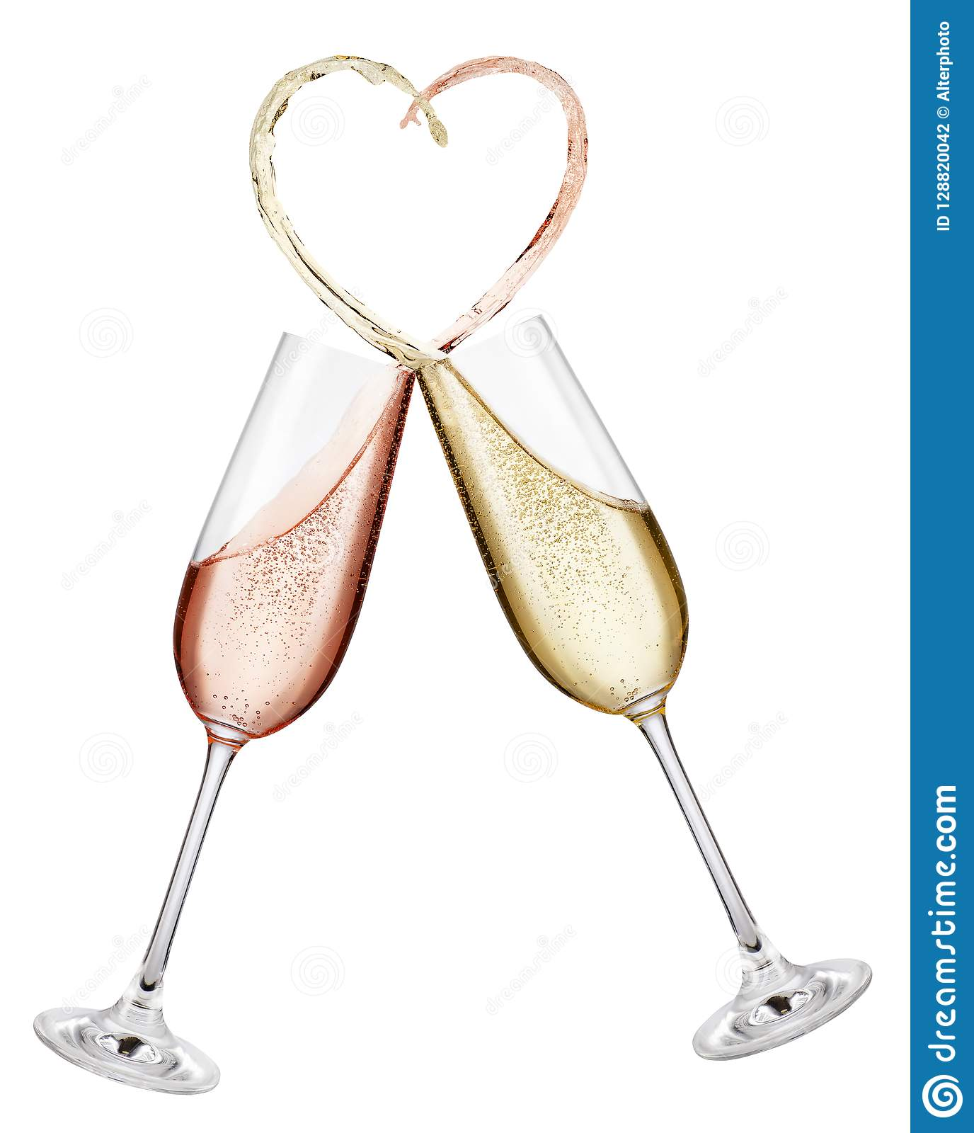 a21822f7f3b6 Glasses of pink and golden champagne making toast with splash in the shape  of heart isolated on white background