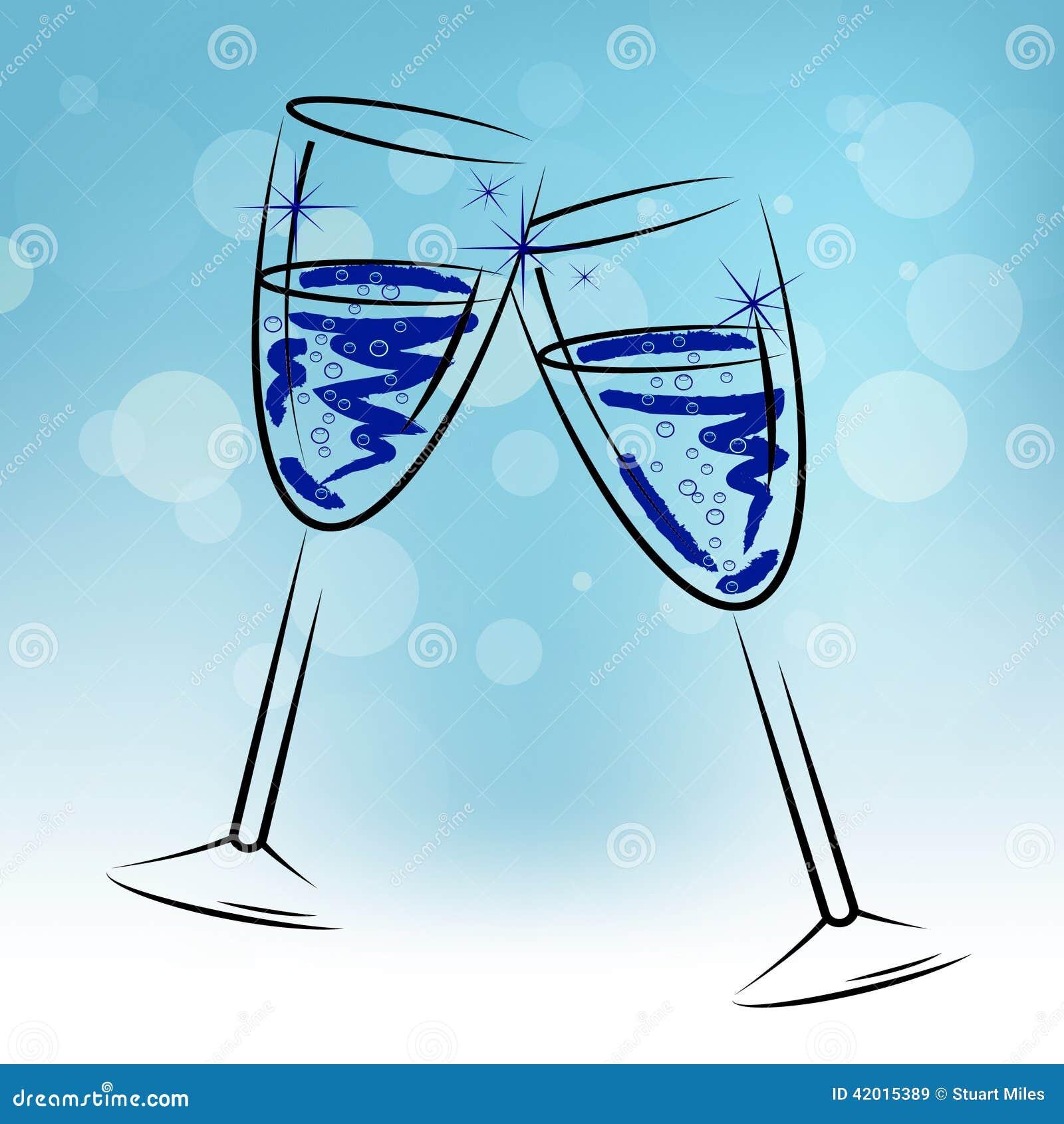 Champagne Glasses Means Beverage Fun und Glückwünsche
