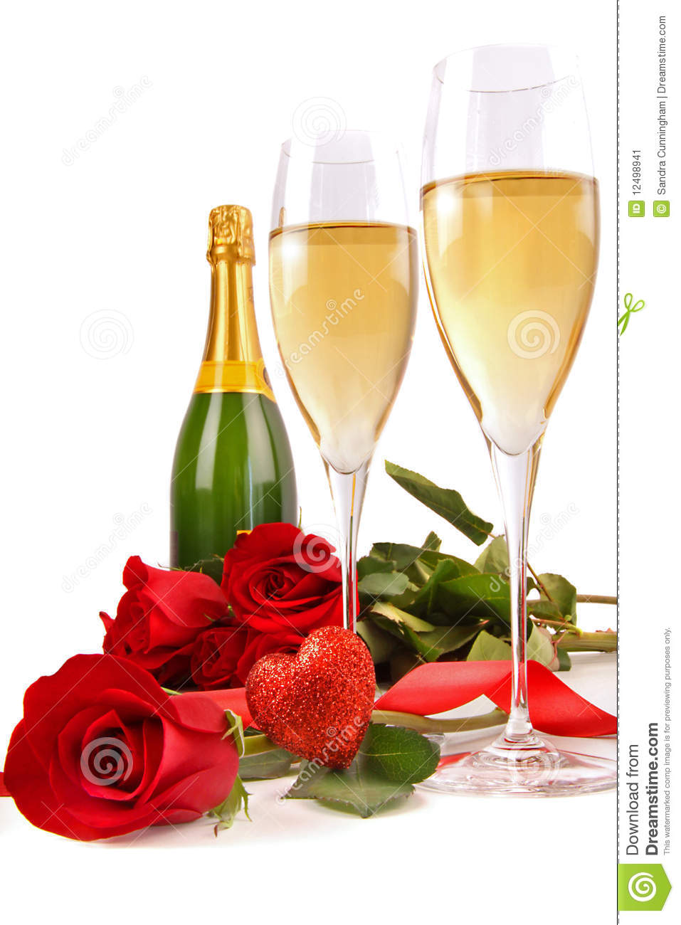 Champagne Glasses With Red Roses And Little Heart Stock Image - Image ...