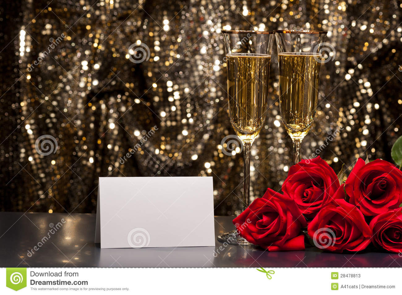 Champagne Glasses And Roses Stock Image Image 28478813