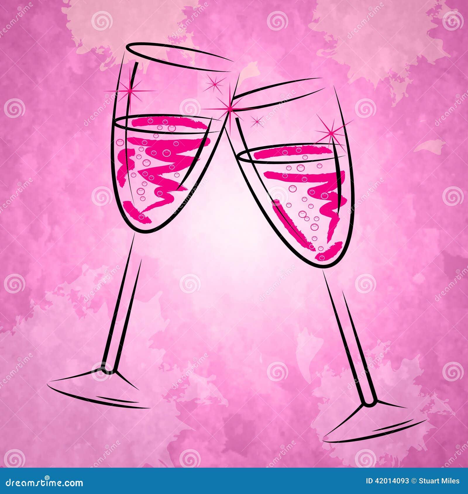Champagne Glasses Shows Sparkling Alcohol och vinglas