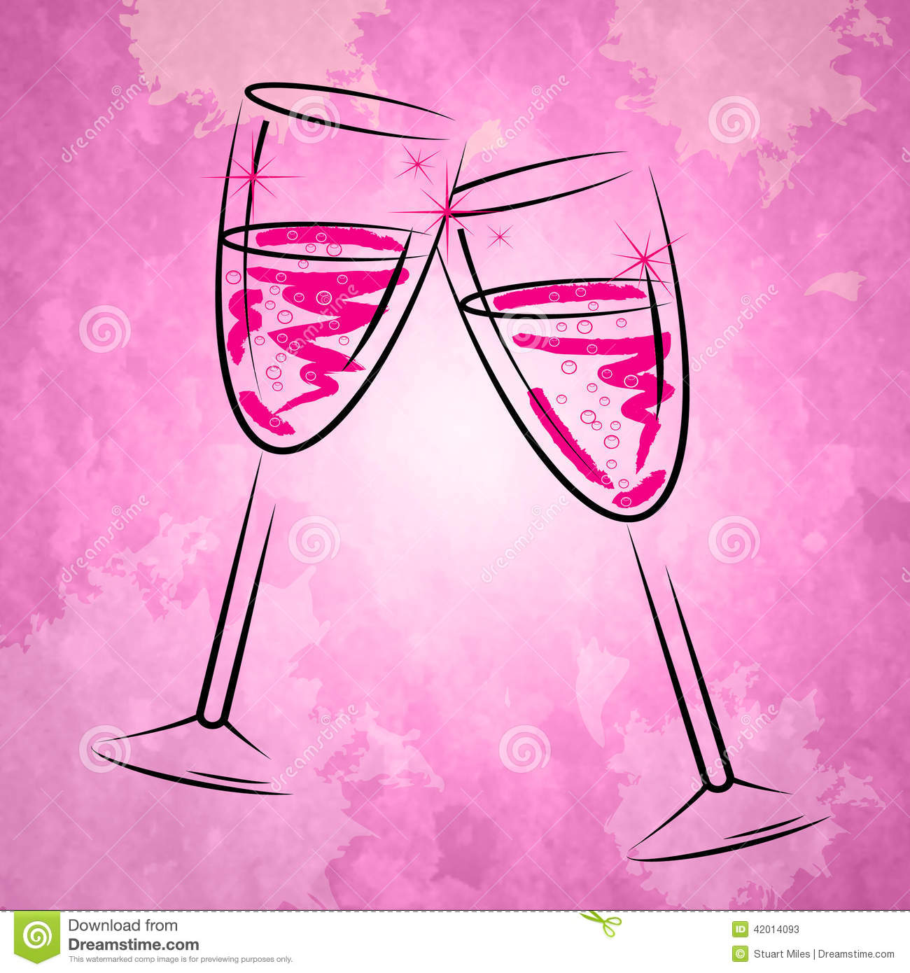 Champagne Glasses Shows Sparkling Alcohol y copa