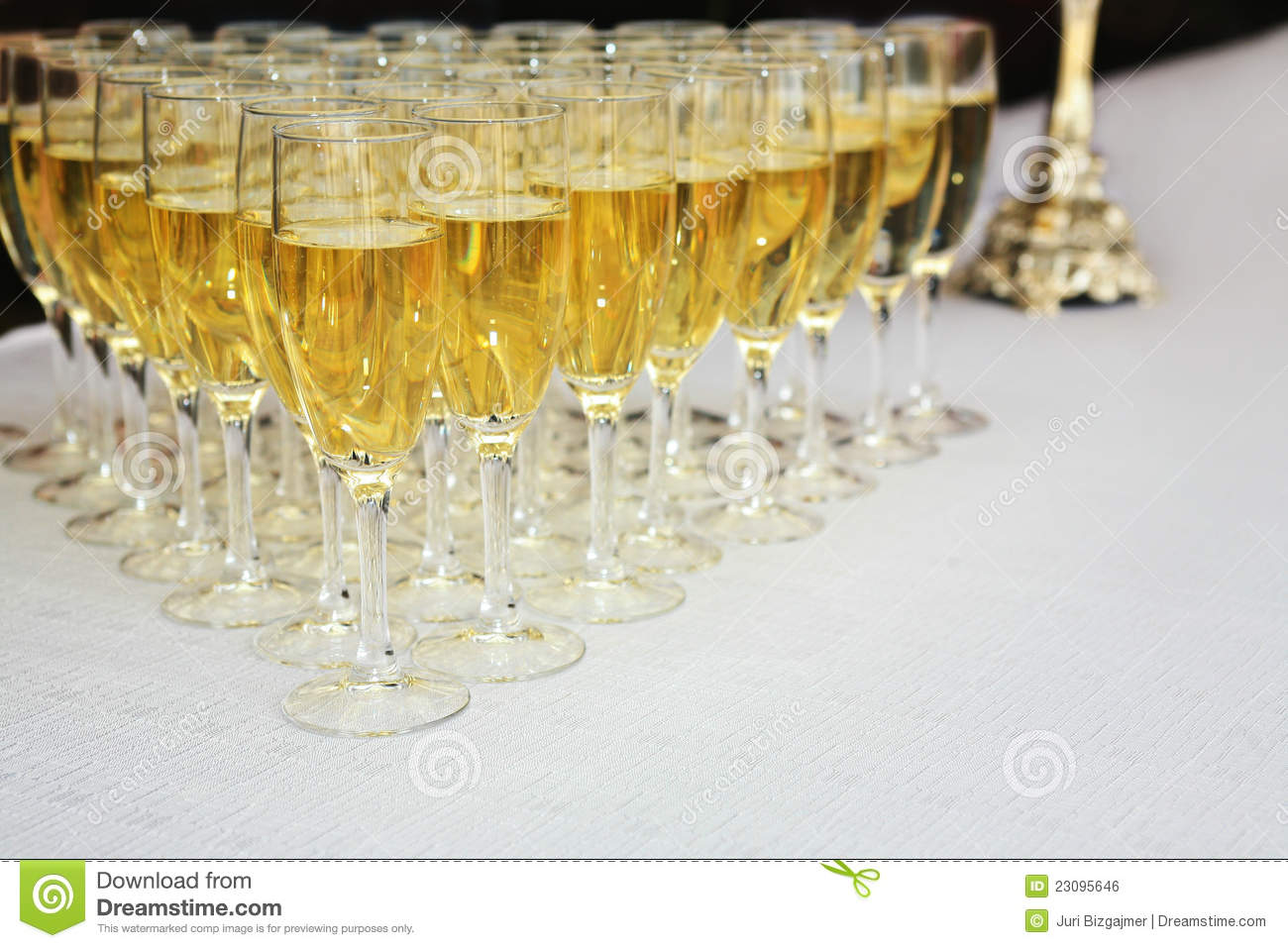 Champagne Glasses On Table Stock Photo Image Of Wedding