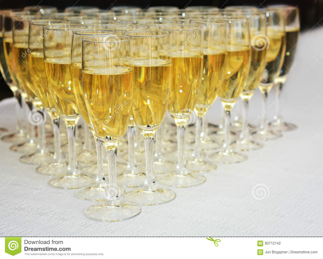 Champagne Glasses On A Table Stock Photo