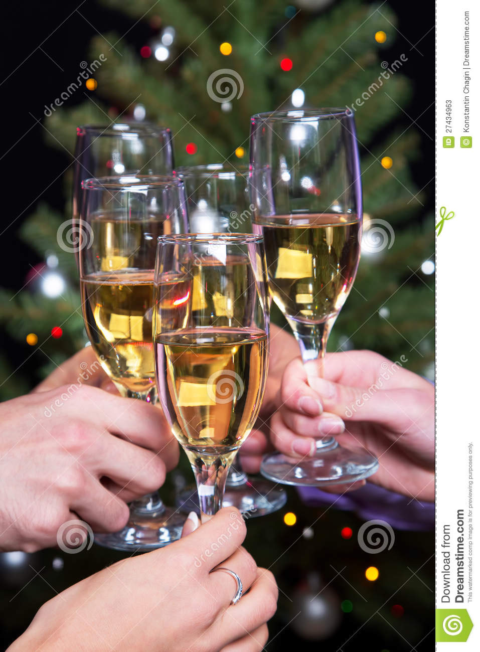 Champagne Glasses During Toast Stock Image Image 27434963