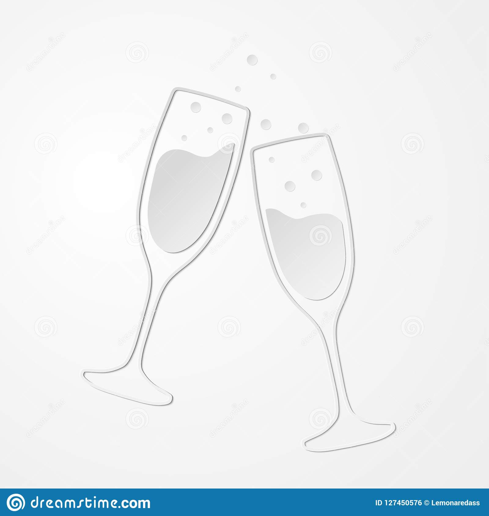 Champagne glasses vector icon with shadow. Paper style