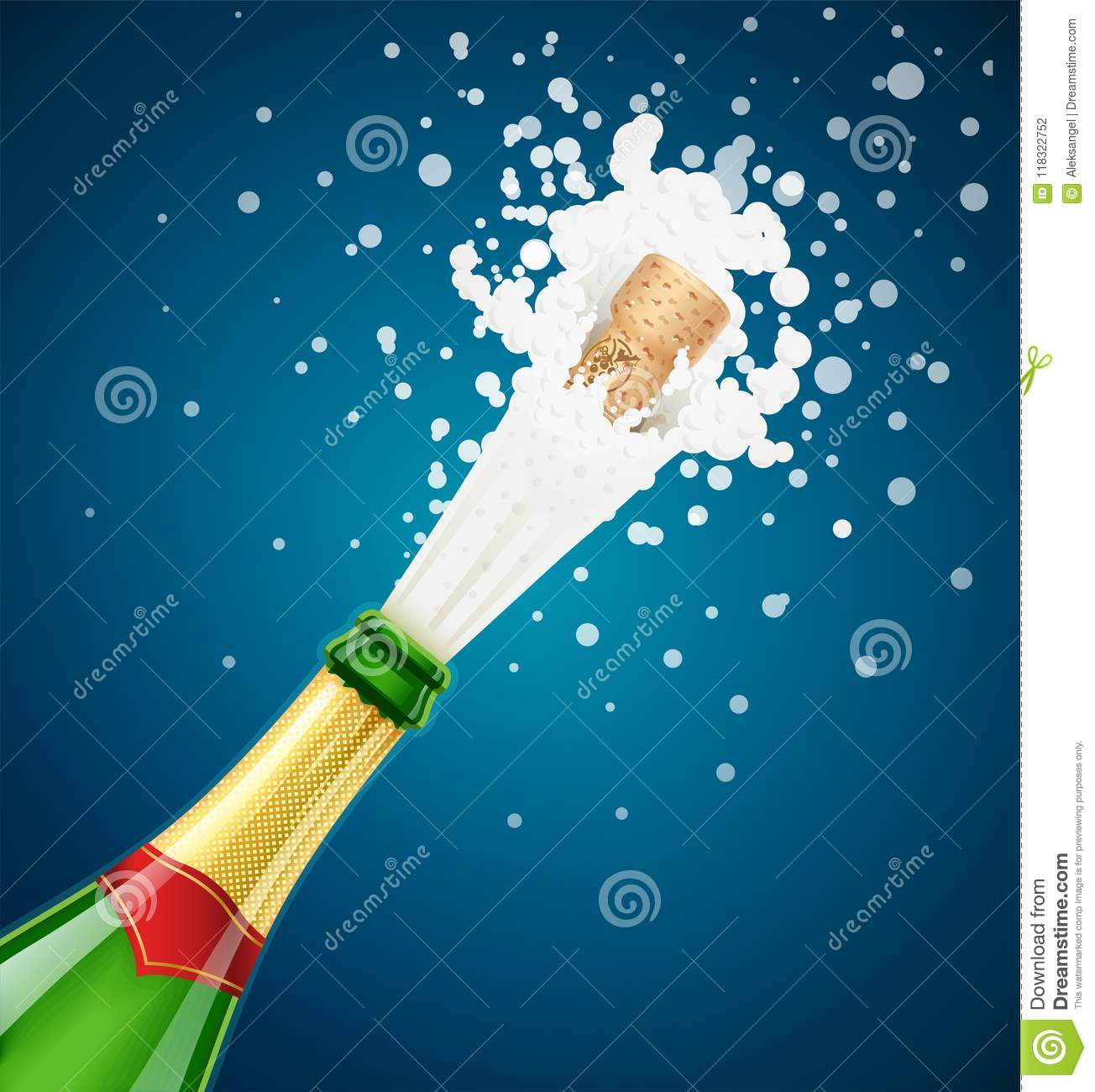 Champagne Bottle. Explode Traditional French Alcohol Drink