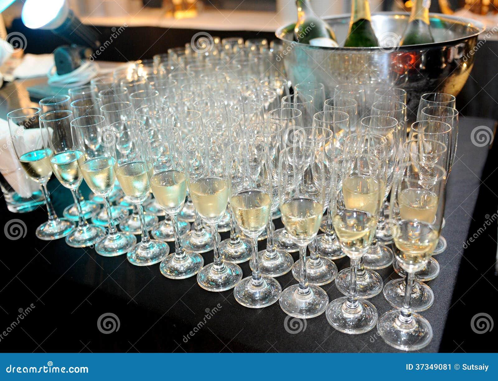 Champagne i exponeringsglas