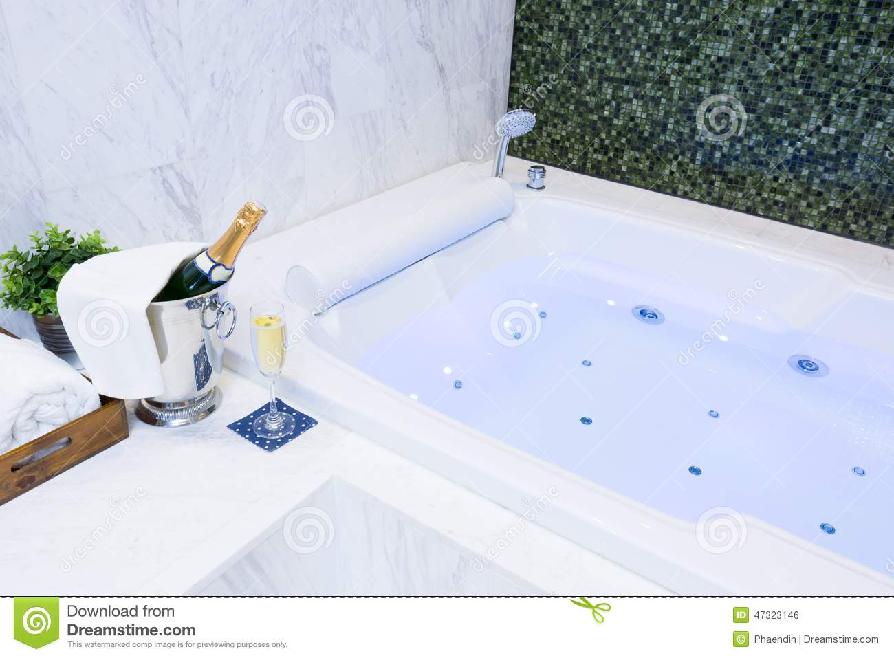 Champagne and Jacuzzi Spa stock photo. Image of basin - 47323146