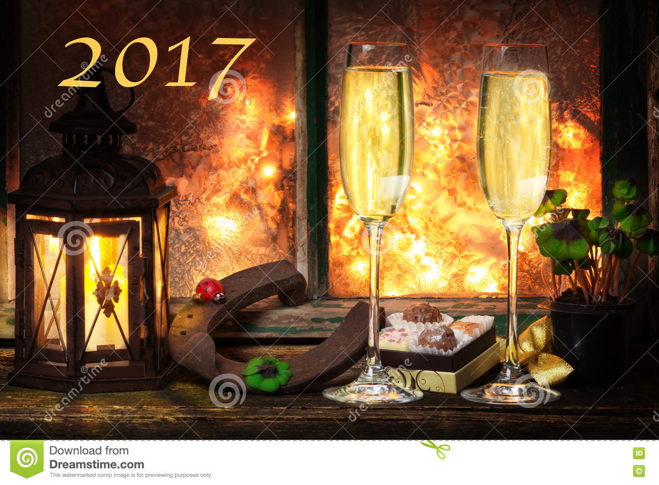 Champagne New Year s Eve, happy new Year 2017