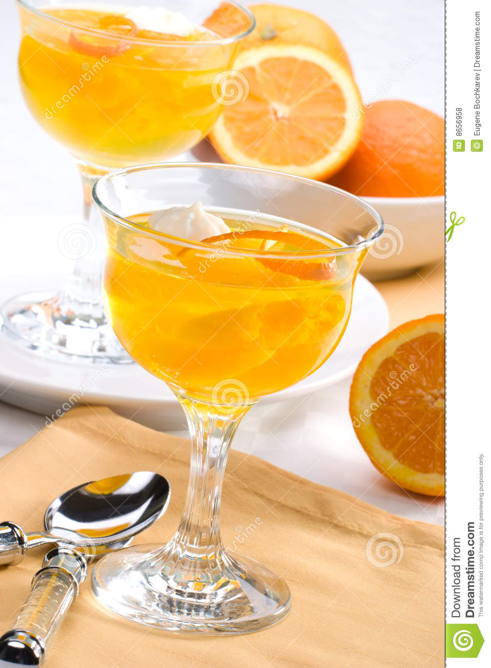 Delicious Champagne Orange jelly served with whipped cream and orange ...