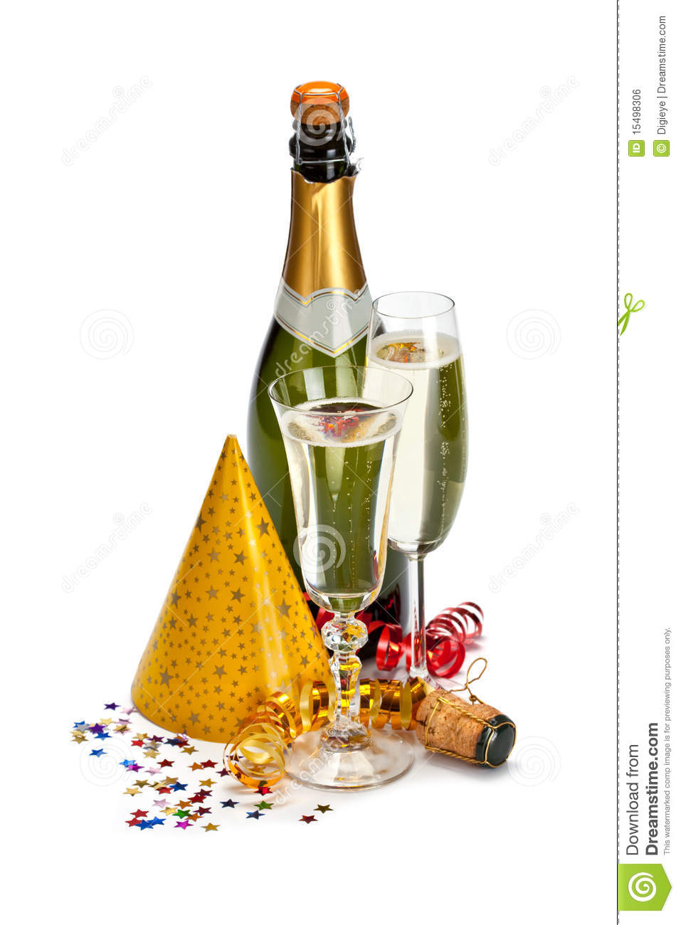 Champagne And Party Caps Royalty Free Stock Image - Image: 15498306