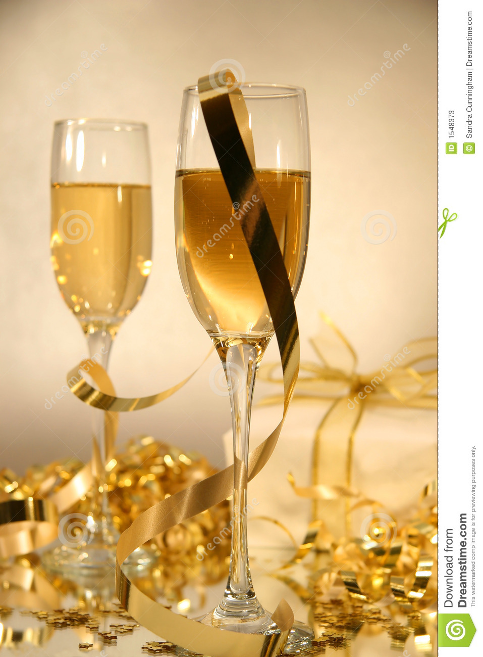 Champagne And Ribbons Stock Image Image Of Gold Birthday