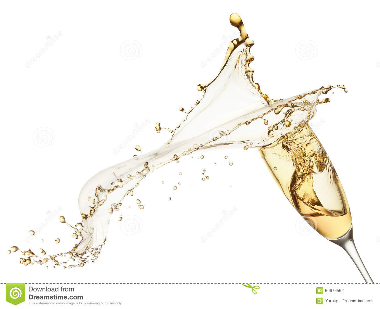 Champagne splash from glass on the white background stock for Cocktail 0 base de vin blanc
