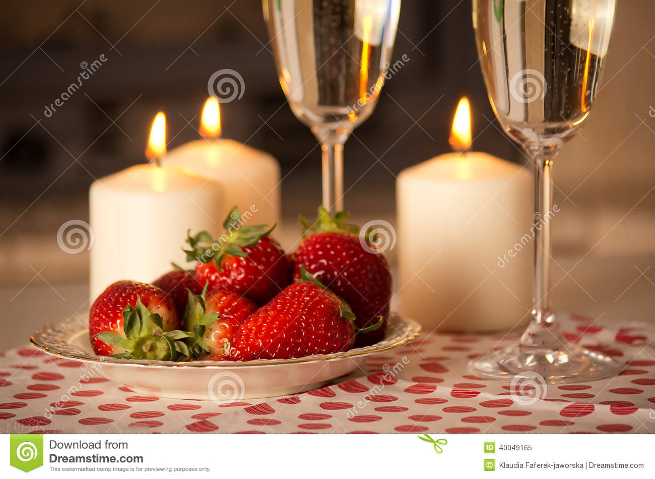 Champagne, Strawberries And Candles. Stock Photo - Image: 40049165