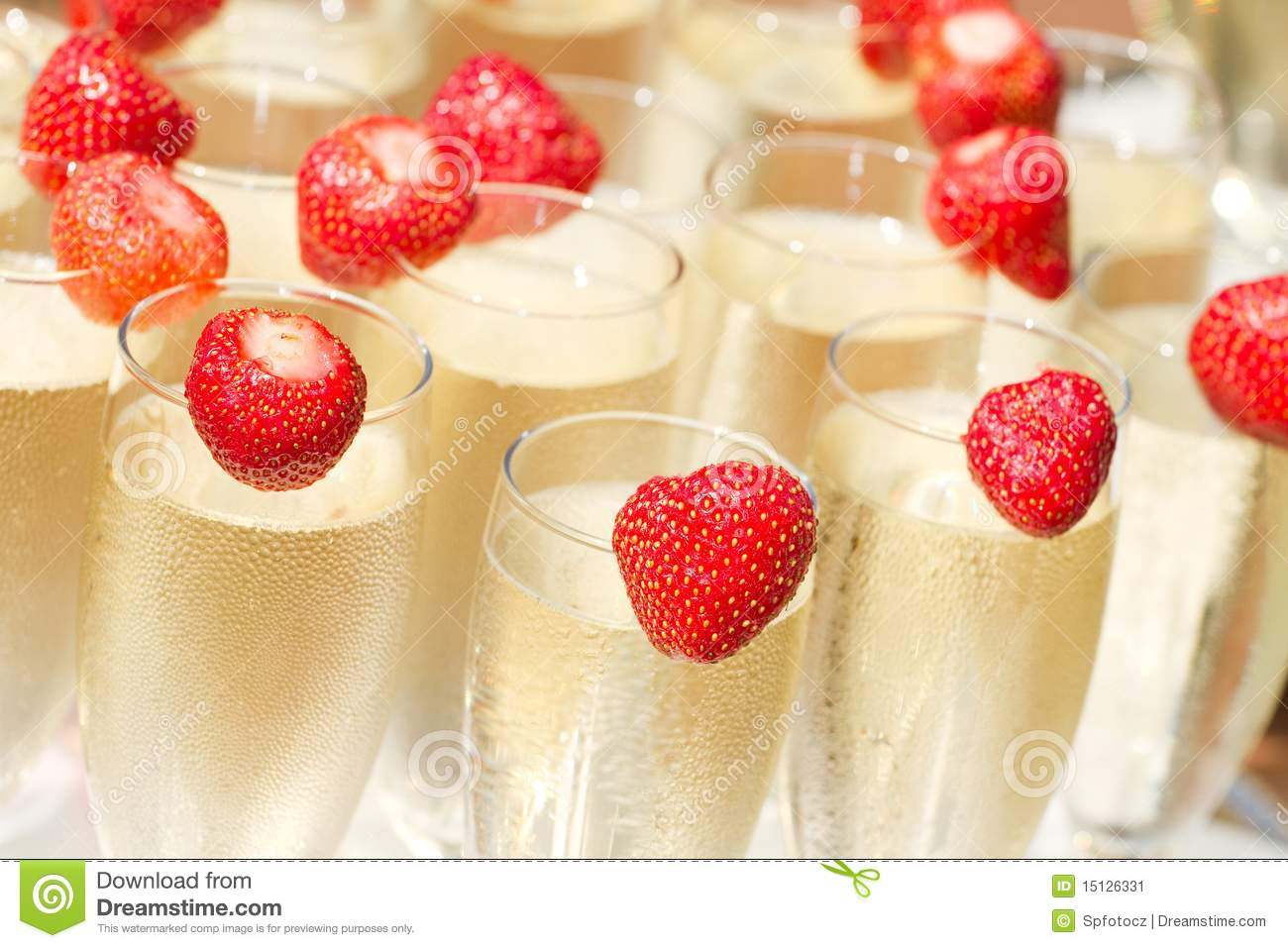 Champagne And Strawberry Stock Image Image Of Wedding