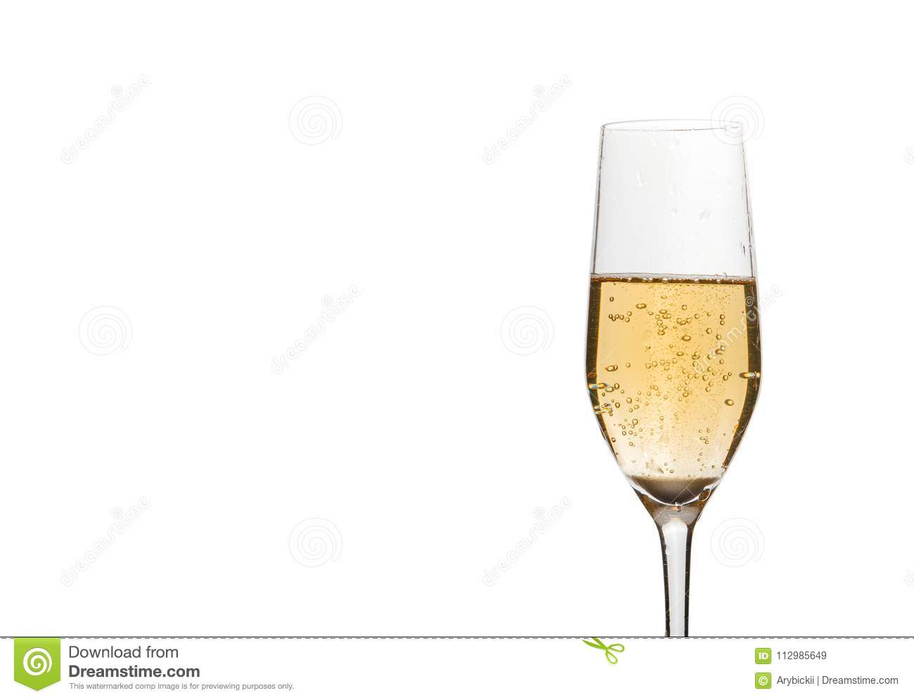 Champagne in wineglass on white