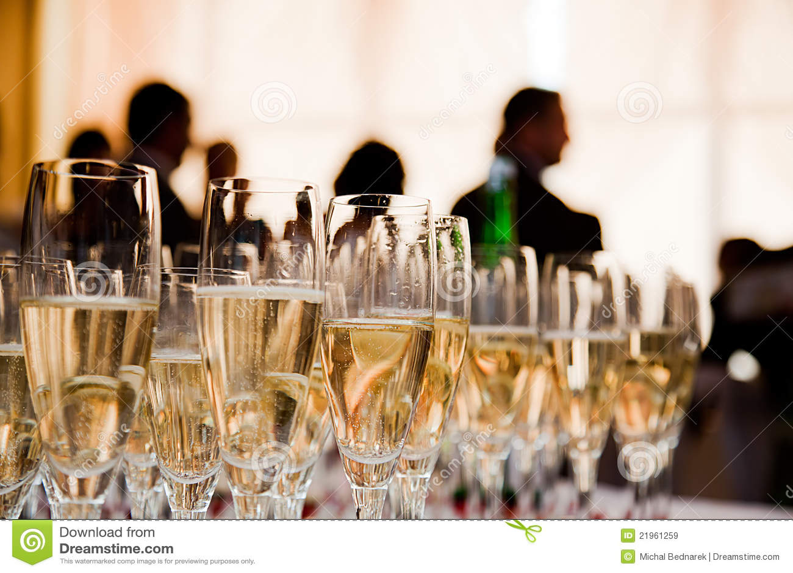 Champagneexponeringsglasdeltagare
