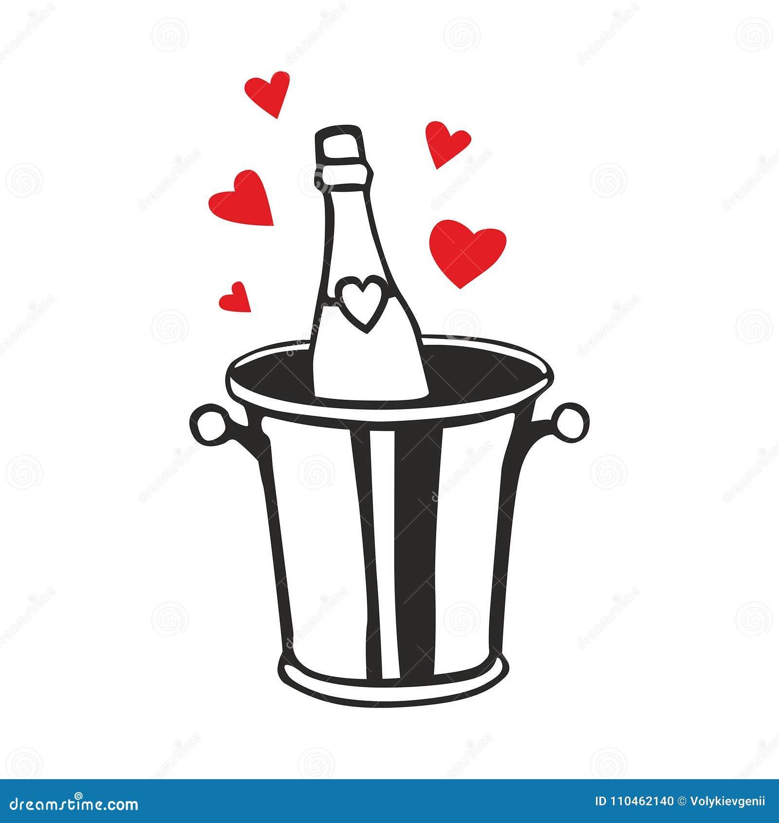 Champagneflaska i ishink med hjärtor