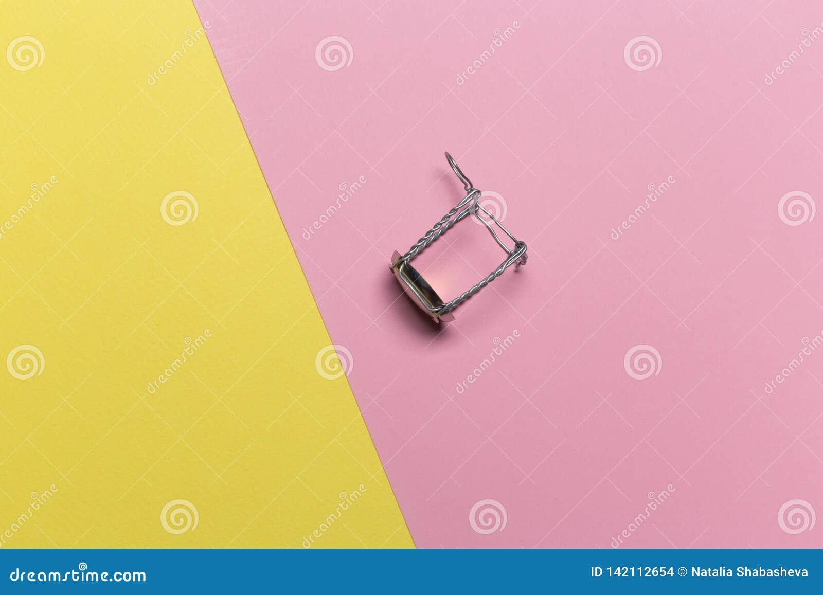 Champagnetråd på en rosa gul pastellfärgad bakgrund
