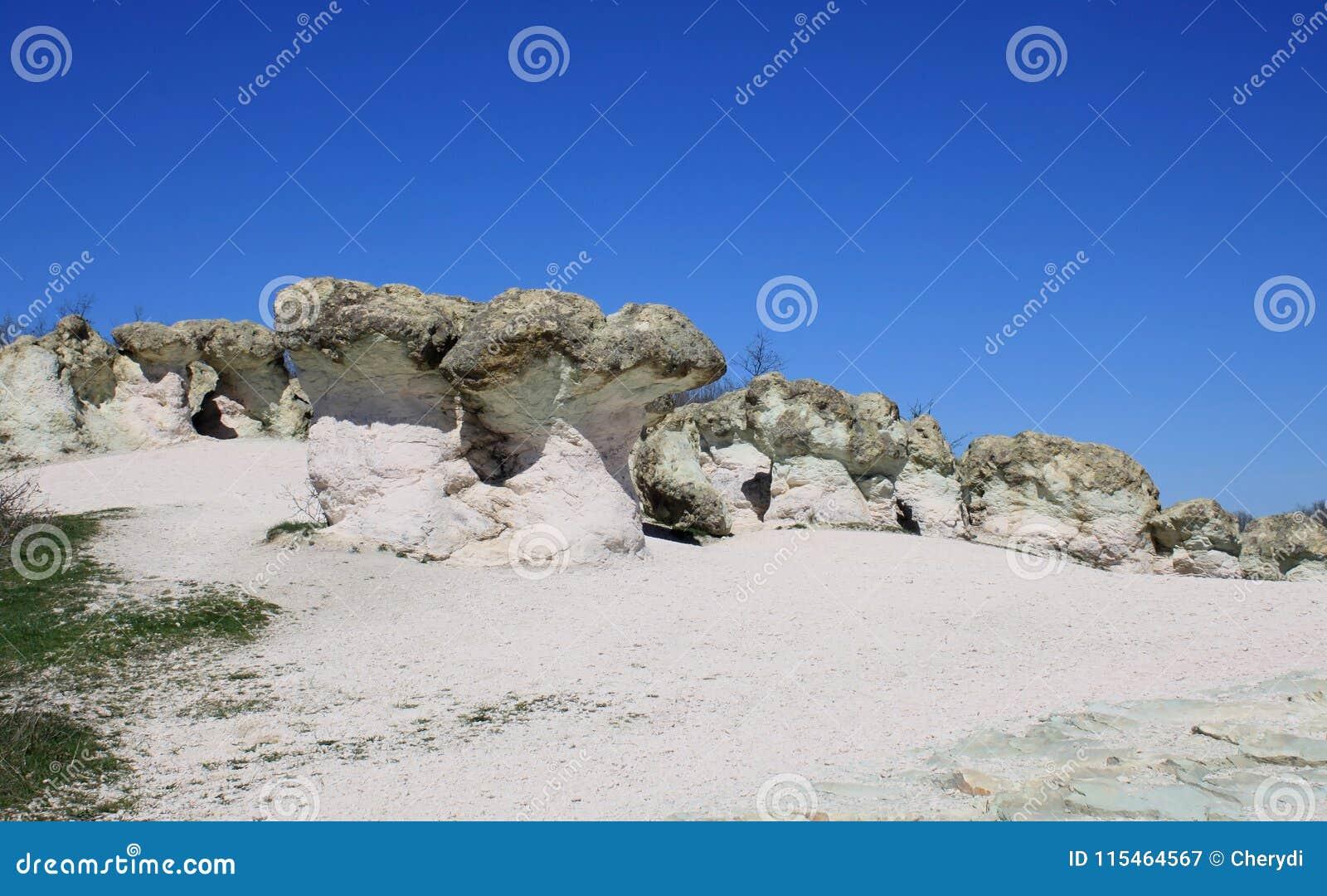 Champignons de pierre de phénomène naturel en Bulgarie