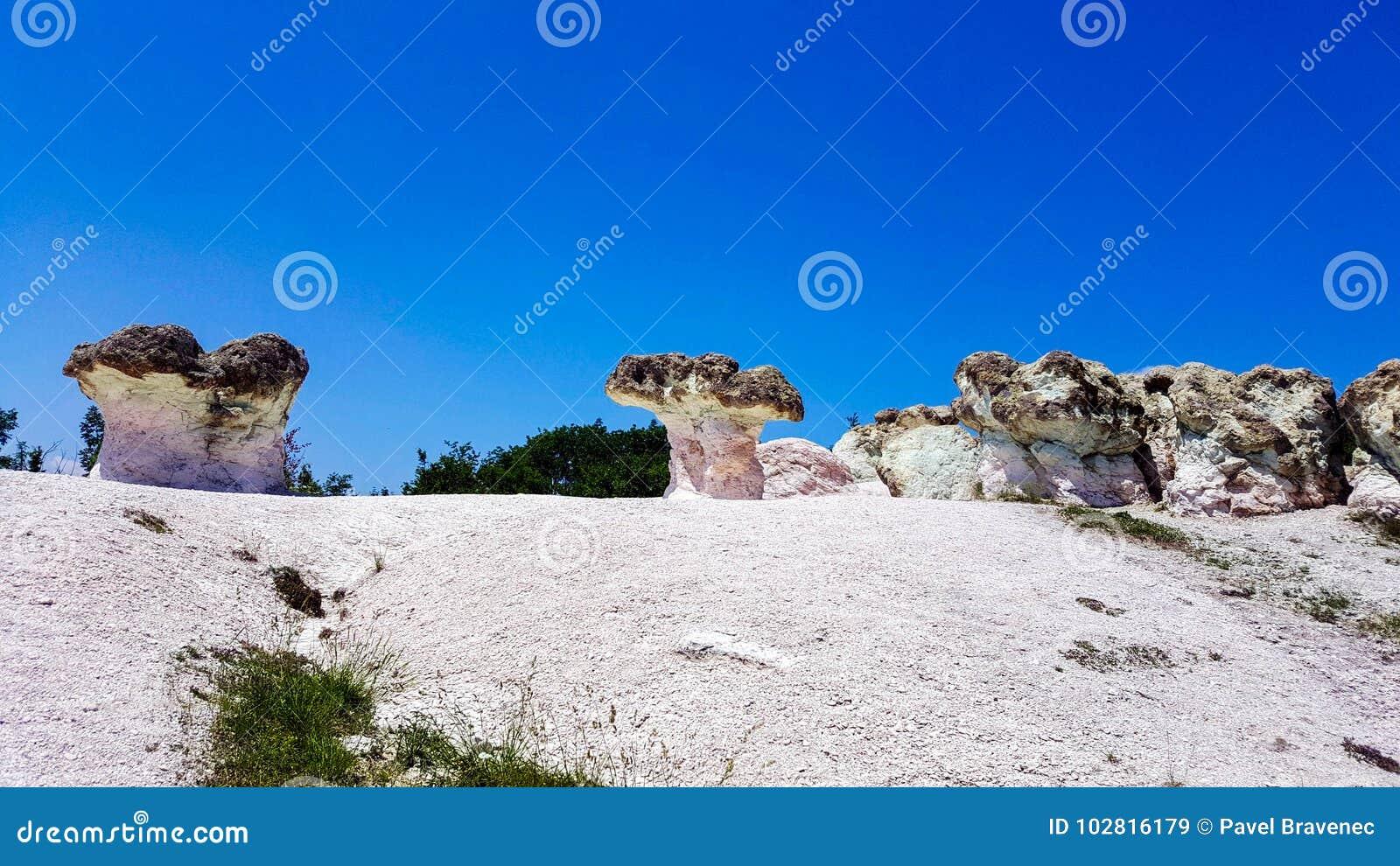 Champignons en pierre en Bulgarie sous le ciel bleu